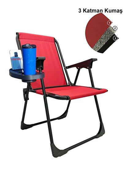 moniev Katlanır Kamp Piknik Sandalyesi Plaj Koltuğu Katlanır Şezlong Ve Oval Bardaklık Kırmızı