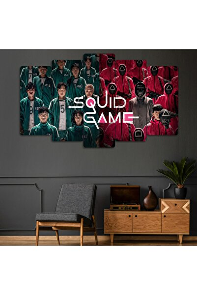 Evonya Squid Game 5 Parçalı Dekoratif Tablo