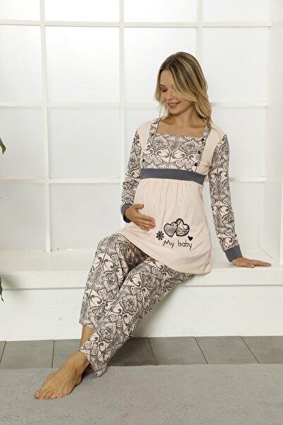 Vigenza Kadın Uzun Kol Hamile Emzirme Pijama Takımı