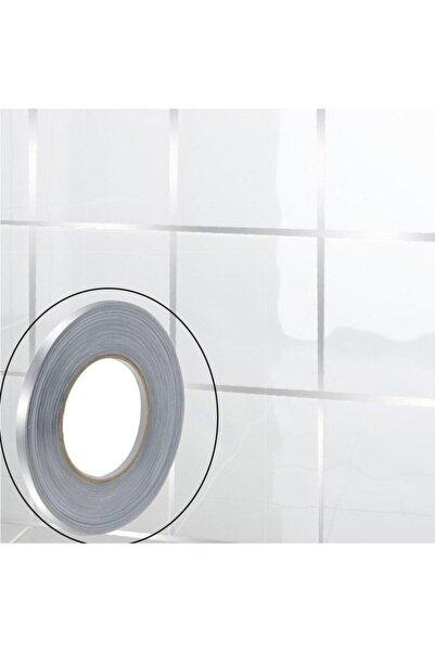Ürün Gezegeni 50 Metre Fayans Arası Şerit Dekoratif Yapışkan Renkli Dekor Su Geçirmez Sızdırmaz Gümüş Bant Kaplama