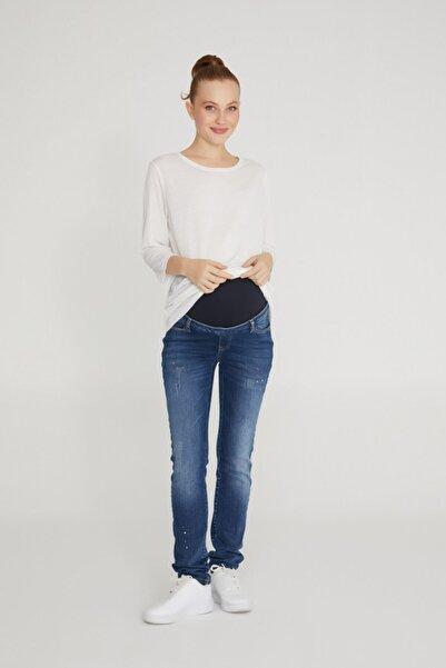 VAVIEN Slim Fit Damlatmalı Mavi Hamile Jean 1012