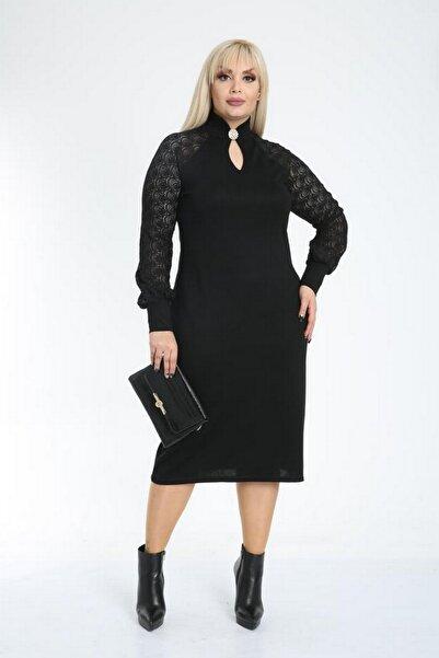 ASOTREND Kadın Siyah Yakası Broşlu Abiye Elbise