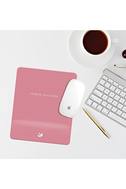 Özer Store Pembe Be Brave, Be Yourself Yazılı Bilek Destekli Dikdörtgen Mouse Pad Mouse Altlığı