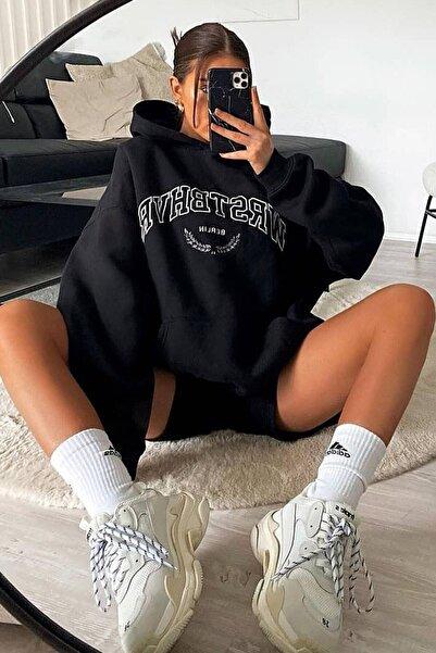 Madmext Mad Girls Siyah Kadın Sweatshirt Mg923