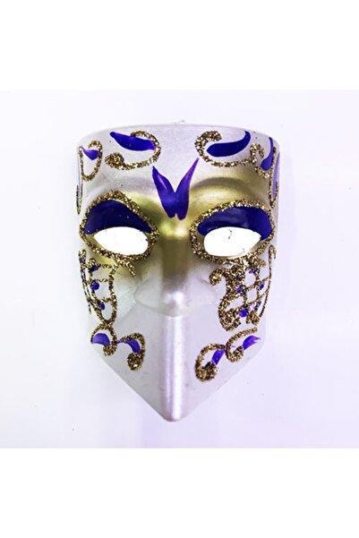 Samur Mavi İşlemeli Seramik Malzeme Tam Yüz Venedik Maske Magnet 4x5 cm