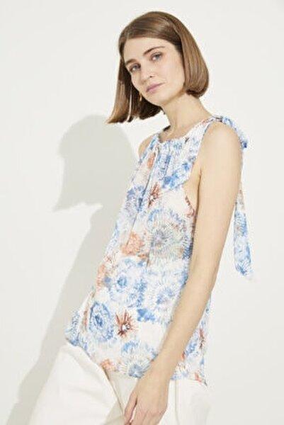 Kadın Emp.Coral Yakası Bağlamalı Desenli Kolsuz Bluz