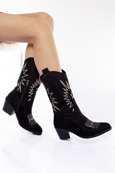Bak Store Siyah Süet Kadın Nakışlı Fermuarlı Western Kovboy Çizme Bot