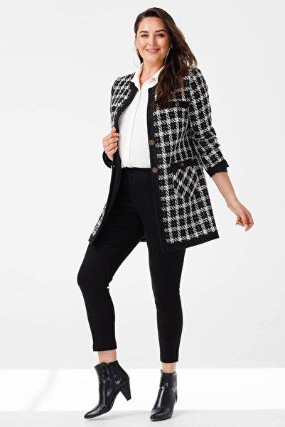 Moda İlgi Uzun Twit Ceket Siyah