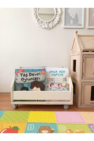 Mula Wooden Montessori Ahşap Tekerlekli Kitaplık Bebek Çocuk Odası Anaokulu Okul Öncesi Eğitici Tavşan Model
