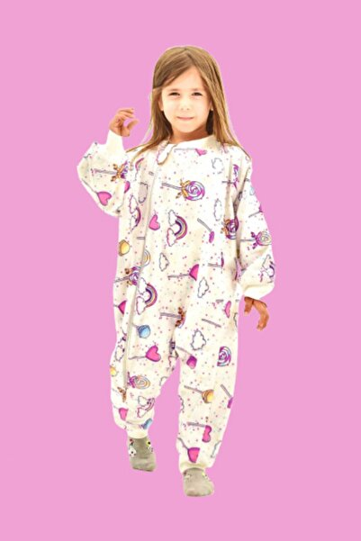 Happystore Elyafsız Kışlık Uzun Kollu Çift Kat Organik Pazen %100 Pamuk Lolipop Çocuk Bebek Uyku Tulumu
