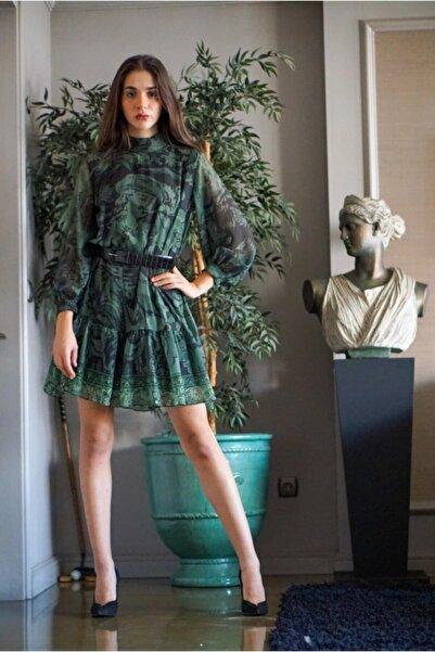 Say Hakim Yaka Eteği Farbalı Şifon Elbise