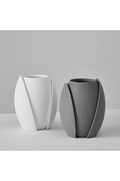 Evion Italyan Tasarım 2'li Kesikli Saksı Mumluk Vazo Obje Antrasit-beyaz