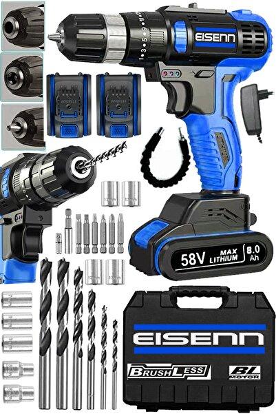 Eisenn Germany Technology Blue 58 V 8 Ah Bl Kömürsüz Yeni Nesil Samsung Batarya Şarjlı Matkap + Usta Seti