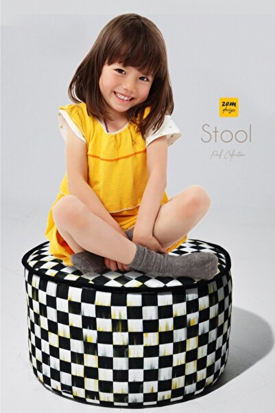Zem Stool - Chess Desenli Çocuk Puf