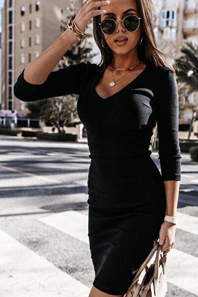 missamour Kadın V Yaka Kaşkorse Elbise