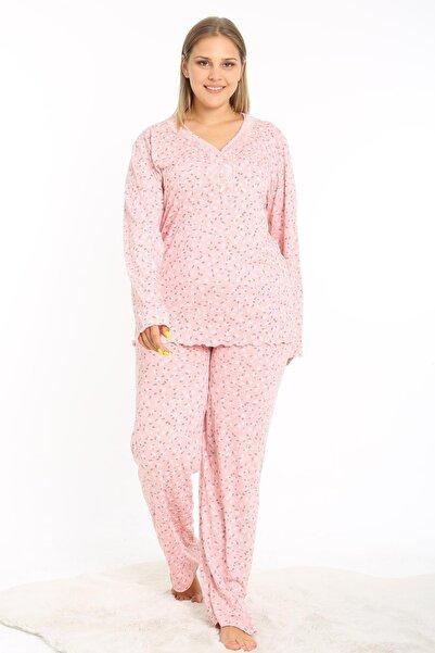 Ladies First Büyük Beden 8088 Pudra Pijama Takım Desenli Likralı Doğal Kumaştan Uzun Kollu