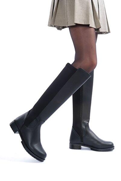 Öncerler Ayakkabı Kadın Siyah Dalgıç Kumaş Dizaltı Çizme