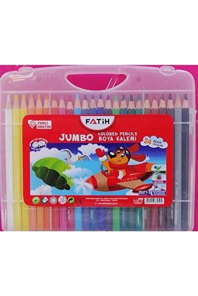Fatih 24 Renk Tam Boy Jumbo Köşeli Kuruboya Kalemi Çantalı