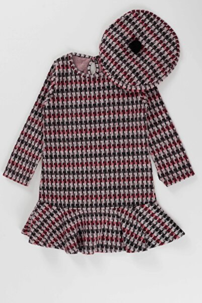 Ahenk Kids 5083 Kız Çocuk Volan Şapkalı Ekoseli Elbise