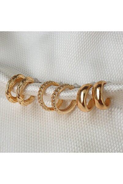Dream0Store Gold Kadın Sade Zarif Takım Tasarım Küpe