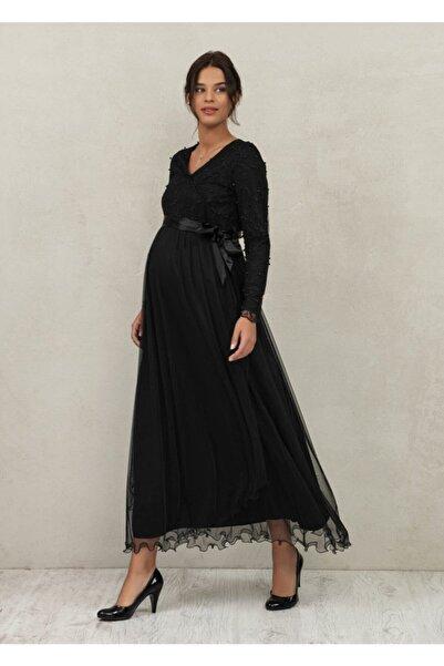 Even Fashion Hamile Giyim Kadın Inci Detaylı Tül Uzun Abiye Hamile Elbise