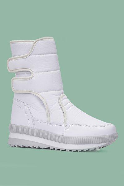 YABUMAN Kadın Beyaz Kürklü Bantlı Midi Çizme Bot Lns2021