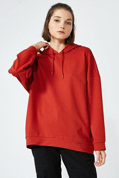 Koton Kadın Kapüşonlu Oversize Kiremit Sweatshirt 2kal68430ık