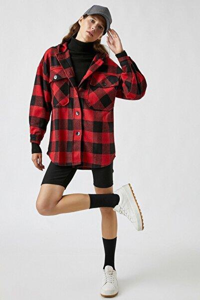 Koton Kadın Kapüşonlu Düğmeli Ekoseli Kırmızı Ceket 2kal58046ıw