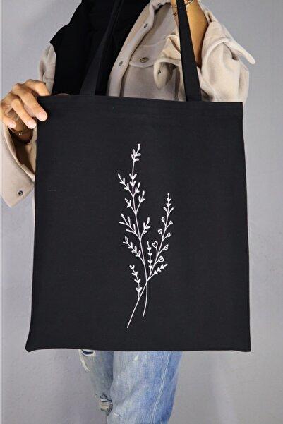 Serkan Çanta Bez Çanta Atölyesi Tek Dal Çiçek Baskılı Siyah Bez Çanta