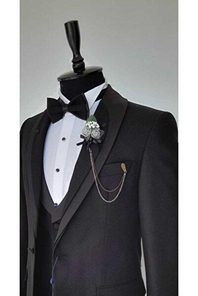 Vakamen Damatlık Yelekli Siyah Slim Fit Takım Elbise
