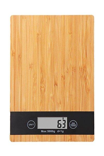 Bambu 1 gr-5 Kg A Kalite Lüks Dijital Ekranlı Ahşap Hassas Elektronik Mutfak Terazisi-tartısı
