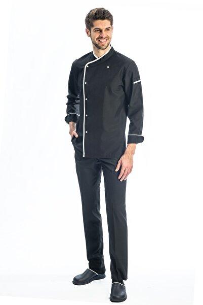 TIPTEKS Beyaz - Siyah Biyeli Klasik Aşçı Ceketi