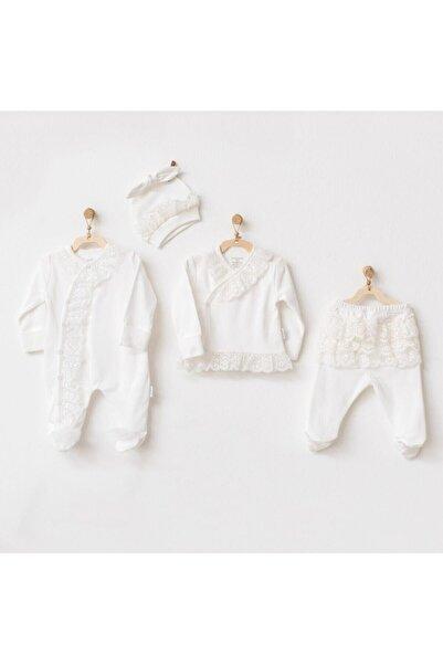 andywawa Kız Bebek Beyaz Hastane Çıkışı 4 Parça Ac21022