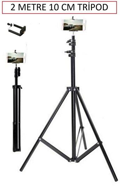 BST BRANDSHOPPİNGTR Tripod 210 cm + Yaylı Telefon Tutucu Ring Light Lamba Işık Ayağı Metal Fotoğraf Stüdyo Lamba