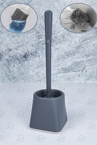 vipgross Antibakteriyel Silikon Klozet Fırçası Kare Skf-01 /gri