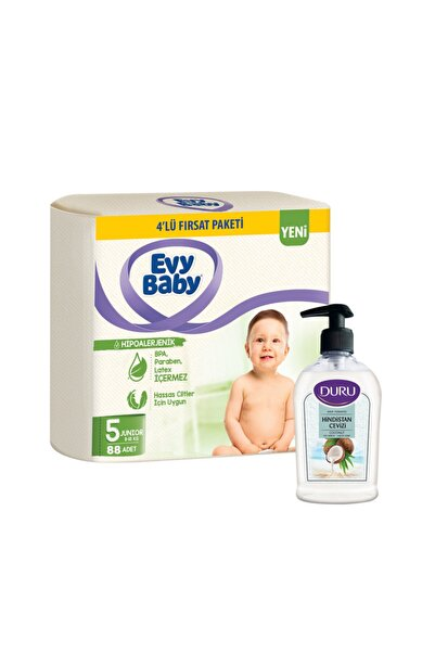 Evy Baby Bebek Bezi 5 Beden Mini 4'lü Fırsat Paketi 88 Adet+duru Hindistan Sabun Hediyeli