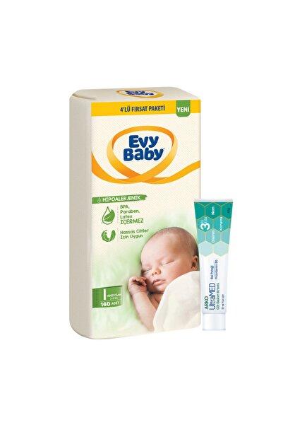 Evy Baby Bebek Bezi 1 Beden Yenidoğan 4'lü Fırsat Paketi 160 Adet Ultramed Krem Hediyeli