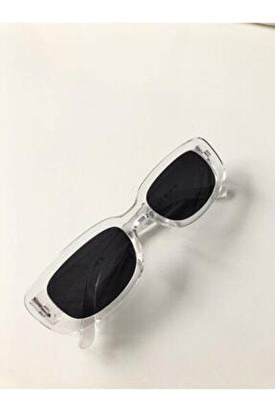 Unisex Şeffaf Kare Dikdörtgen Vintage Güneş Gözlüğü