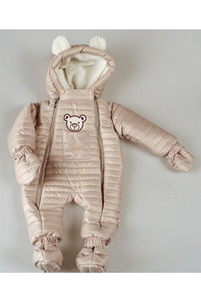 POKY BEBE Kız Bebek Çocuk Bej Ayıcık Armalı Çift Fermuarlı Kozmonot Tulum-103144