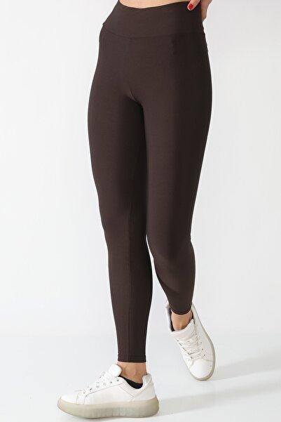 Alışveriş Sokağı Şardonlu Dalgıç Kumaş Yüksek Bel Kadın Tayt