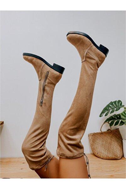 ERVANIN BUTİĞİ Bej Süet (chasty) Kadın Çorap Çizme