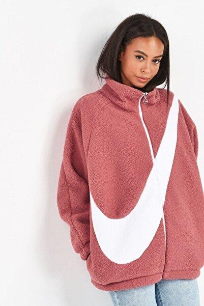 Nike Kadın Mont Çift Taraflı Bol Kesim Pembe - Pink Reversible Teddy Fleece Oversized Swoosh Cı8937-897