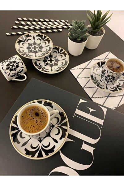 Sembol Yaprak Desen 6'lı Porselen Kahve Fincan Seti Coffea-520