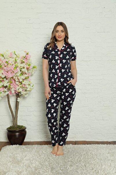 ALİMER Kadın Önden Düğmeli Gömlek Yaka Kısa Kollu Pijama Takımı