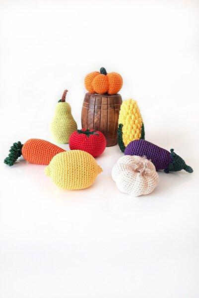 ELVİNES Amigurumi Oyuncak Örgü Oyuncak Organik Oyuncak Pamuk 8'li Sebze Ve Meyve Seti