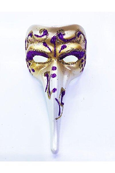 Samur Mor Renk Işlemeli Seramik Malzemeden Imal Venedik Uzun Maske Magnet