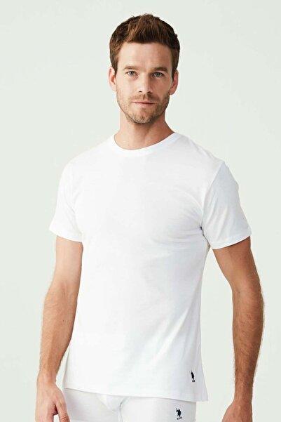 U.S. Polo Assn. Erkek Beyaz Yuvarlak Yaka Pamuk T-shirt