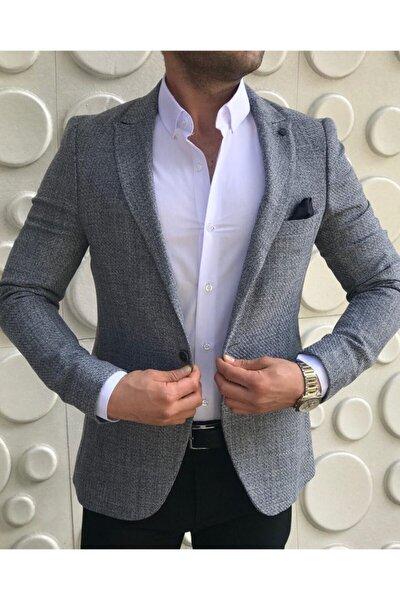 leonmen Italyan Stil Erkek Slim Fit Yün Blazer Tek Ceket