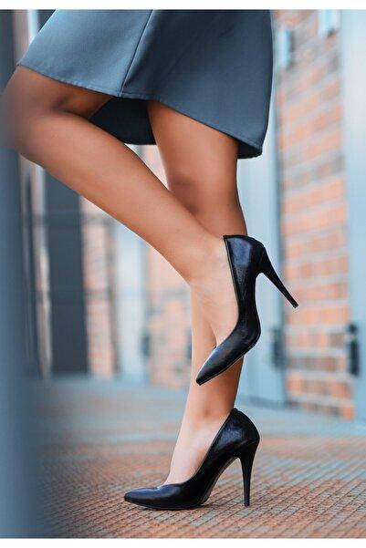 VİVA Xina Siyah Cilt Desenli Stiletto Ayakkabı