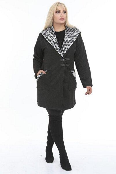 ASOTREND Kadın Siyah Kapüşonlu Büyük Beden Ceket
